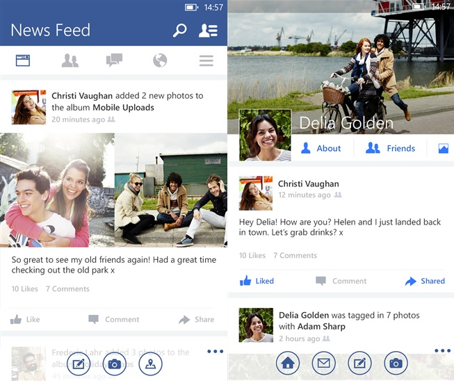 Facebook BEta app Windows Phone