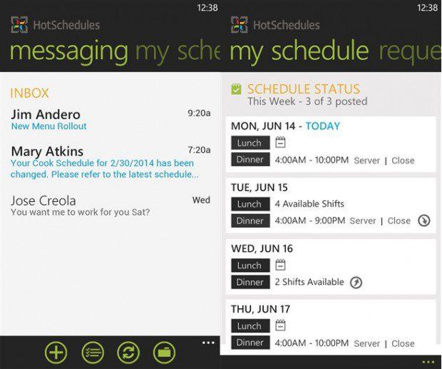 HotSchedule Windows Phone app