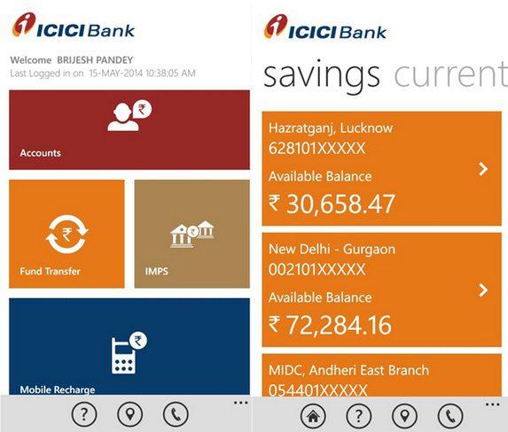 ICICI Bank iMobile Windows Phone