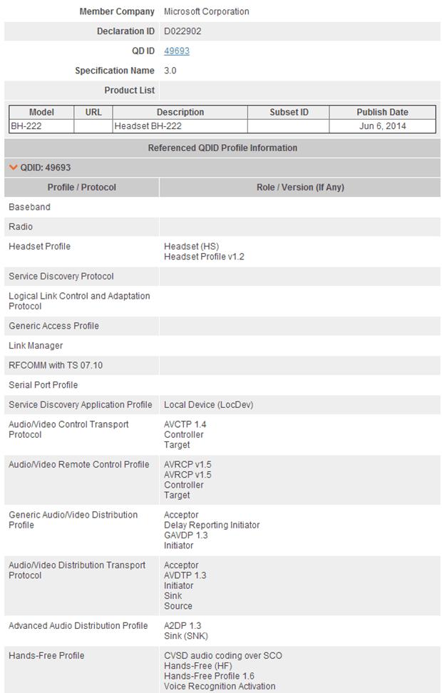 Nokia BH220 Bluetooth SIG