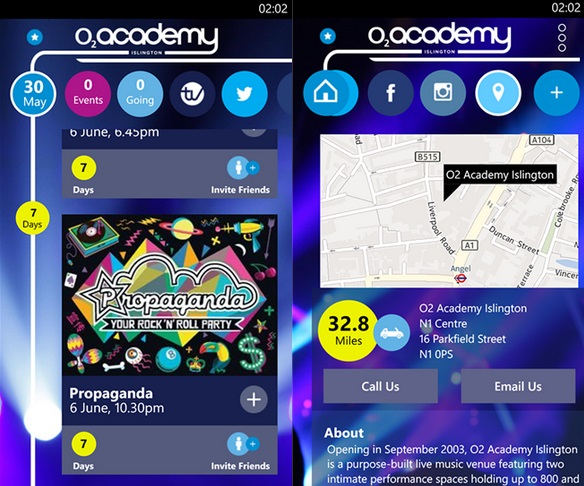 O2 Academy Windows Phone