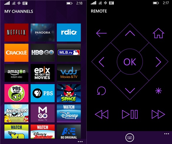 Roku Windows Phone app
