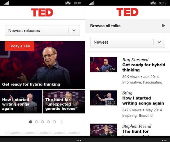TED Windows Phone app