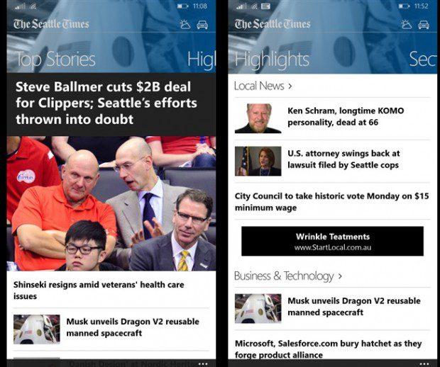 The Seattle Times Windows Phone app