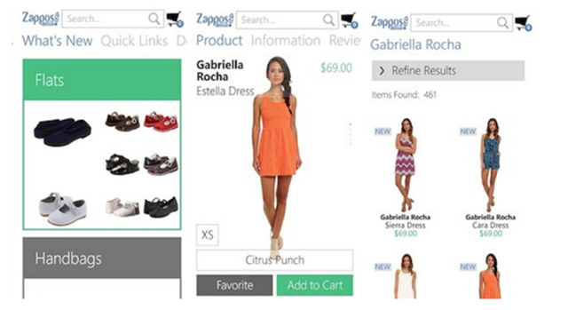 Zappos Windows Phone app