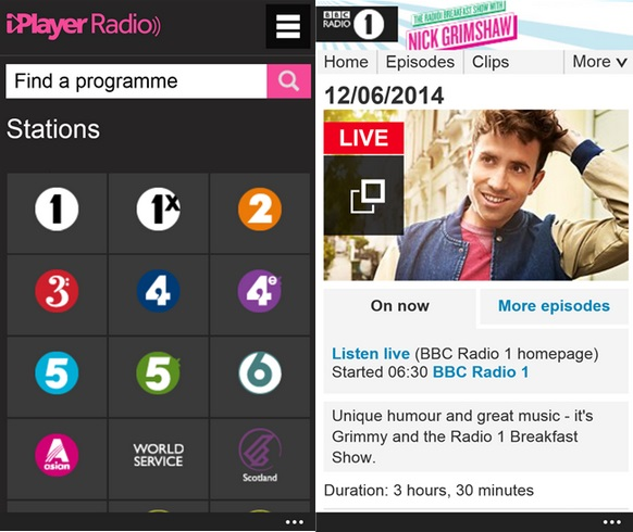 BBC iPlayer Radio Windows Phone