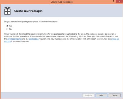 Create Packages Windows Store