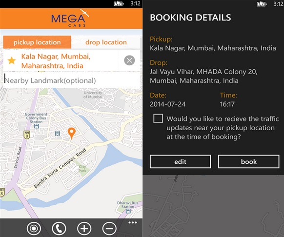 Mega Cabs Windows Phone