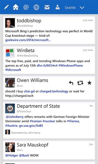 Tweetium Windows Phone app
