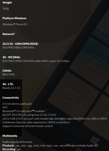 HTC One M8 Windows Spec 2