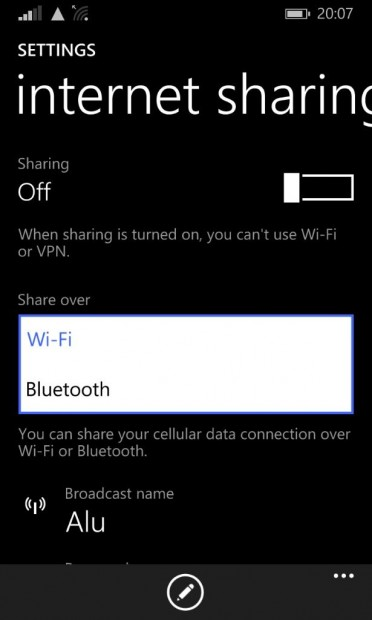 Internet Sharing WP8.1