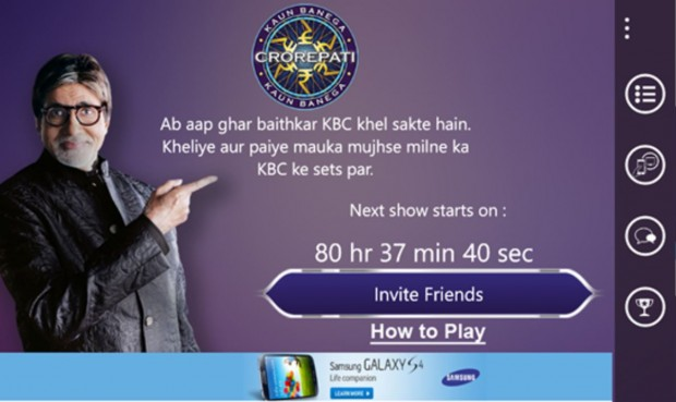 KBC Play Along Windows Phone app