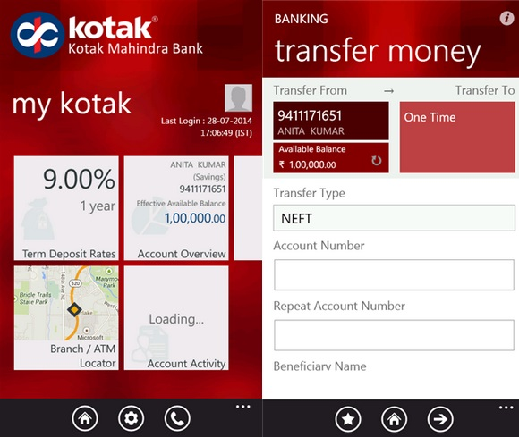 Kotak Mahindra Bank Windows Phone