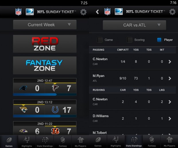 NFL Sunday Ticket Windows Phone