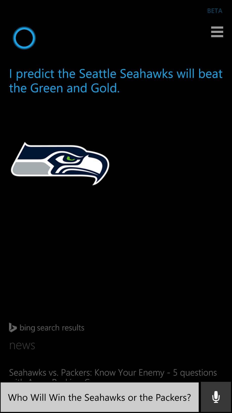 Cortana NFL Prediction