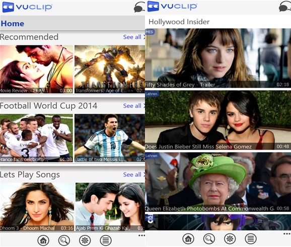 Vuclip Windows Phone app