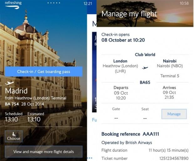 British Airways Windows Phone app