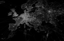 Eric Fischer OpenStreetMap GPS trace density in and near Europe