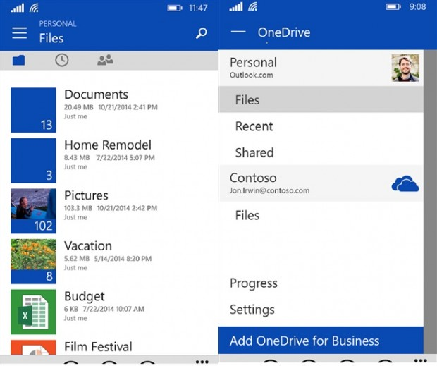 OneDrive for Windows Phone app