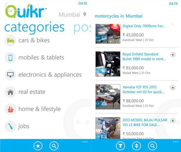 Quikr Windows Phone app