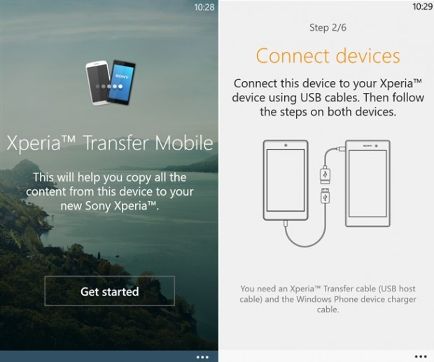 Sony Xperia Transfer Windows Phone
