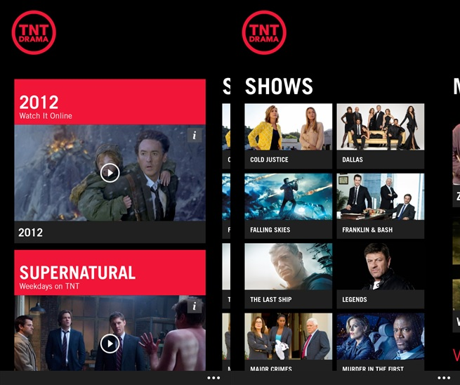 TNT And TBS TV Apps Now Available For Download From Windows Phone Store 1