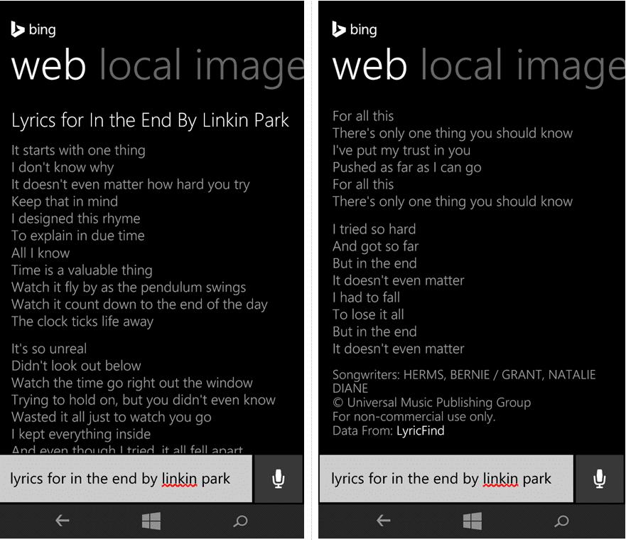 Lyric black lyrics : Cortana now provides full song lyrics - MSPoweruser