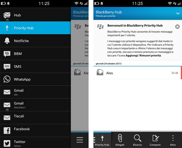 Come utilizzare il BlackBerry Priority Hub con BB10 - 1