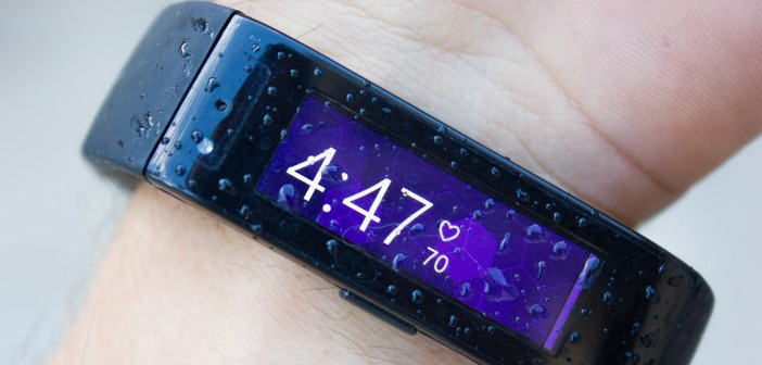 Some rain drops on the Microsoft Band
