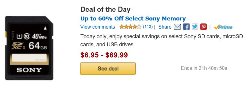 Sony Memory Cards Deals