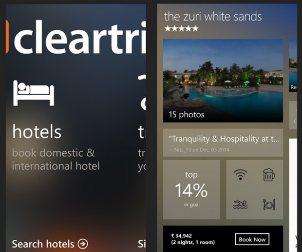 Cleartrip Windows Phone