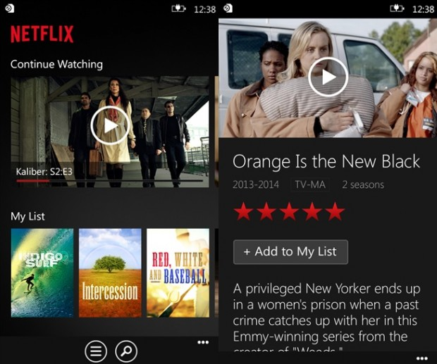 Netflix Windows Phone app