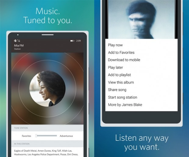 Rdio Windows Phone app