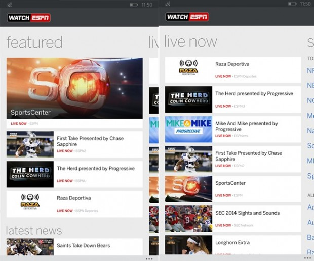 WatchESPN Windows Phone Store