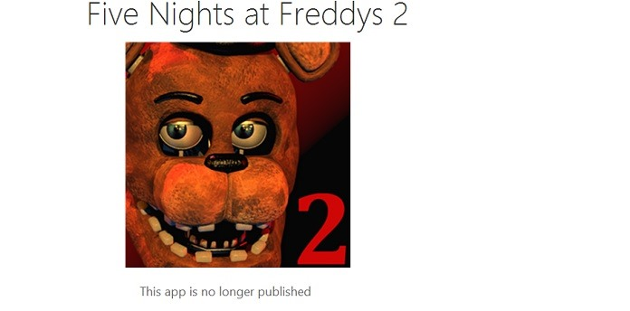 Five Nights at Freddys 1&2 unpublished from the Windows Phone Store - MSPoweruser