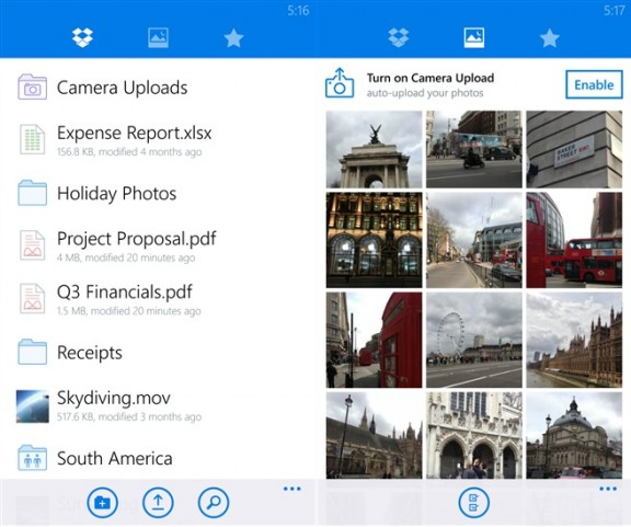 Dropbox Windows Phone