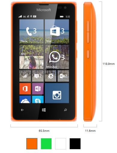 Lumia 532 Size