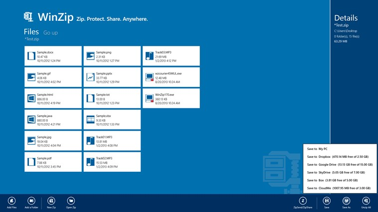 WinZip Windows Store