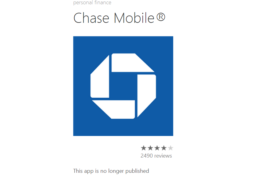 Chase mobile app pulled from the windows phone store mspoweruser