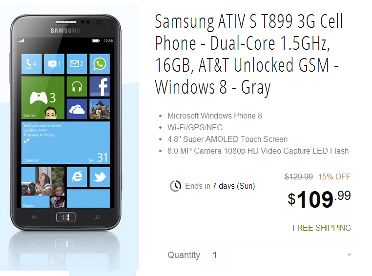 Deal Alert: Samsung ATIV S on sale at NewEgg for only $109.99 5