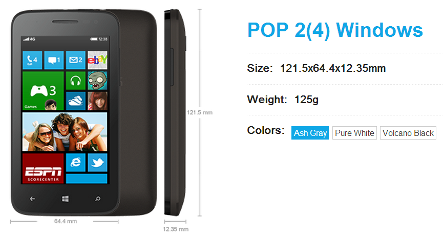 Full specs of the Alcatel POP 2(4) Windows now available 1