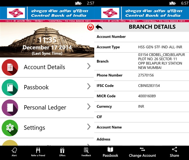Central Bank of India Windows Phone app