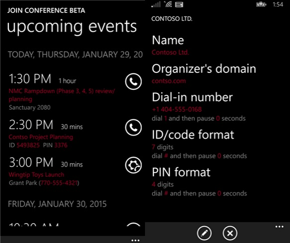 Join Conference Beta Windows Phone