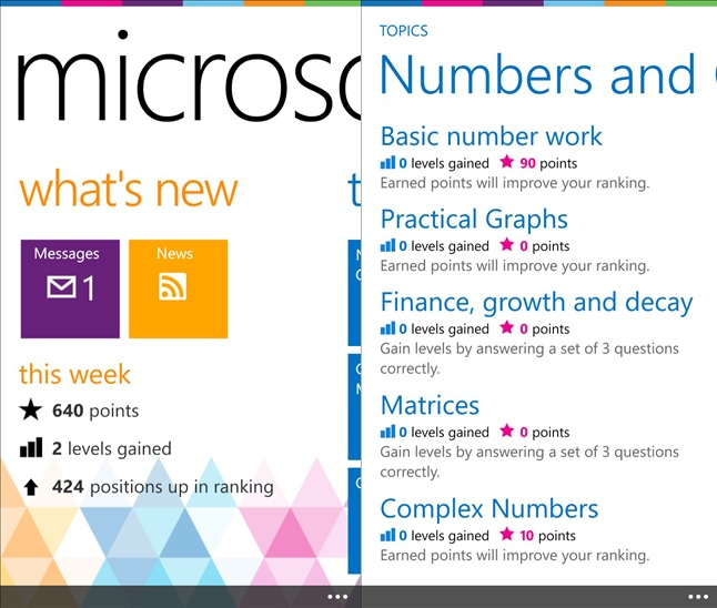 Microsoft Math Windows Phone app