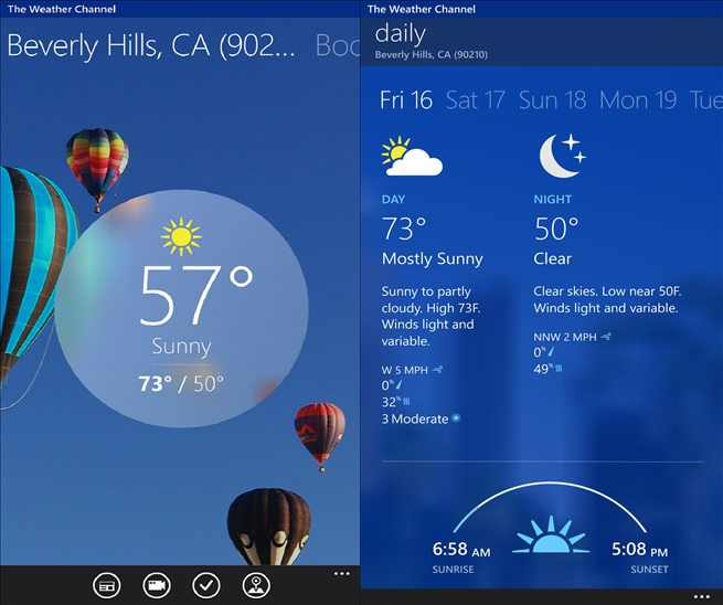 The Weather Channel App Windows Phone