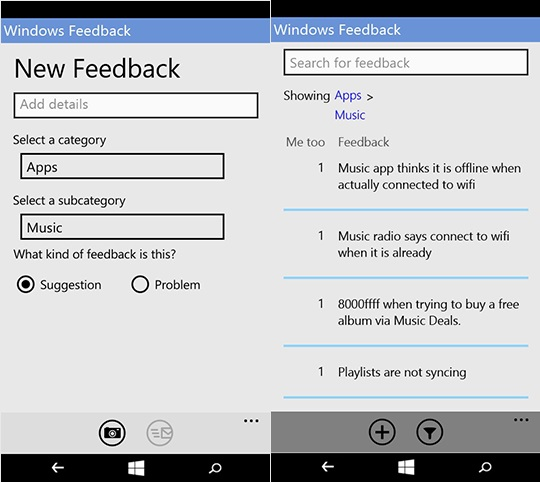 Windows Feedback phones