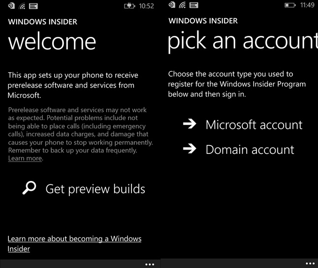 Windows Insider Phone app