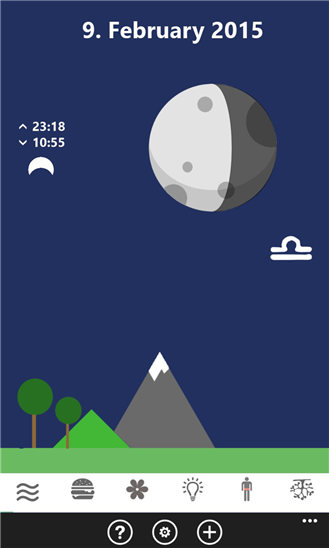 Ursel's moon calendar for Windows Phone 10