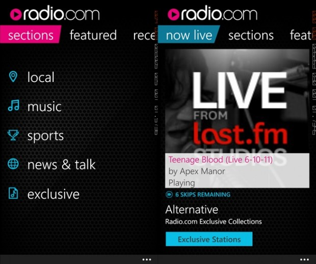 Radio.com Windows Phone app