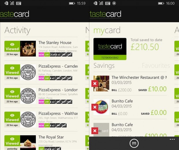 Tastecard Windows Phone app